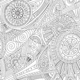Tribal ethnic background. Hand-drawn vector doodles, seamless pattern. All elements are not cropped and hidden under mask, place the pattern on canvas and Stock Photo