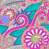 Tribal ethnic background. Hand-drawn vector doodles, seamless pattern. All elements are not cropped and hidden under mask, place the pattern on canvas and Royalty Free Stock Images