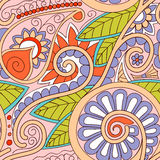 Tribal ethnic background. Hand-drawn vector doodles, seamless pattern. All elements are not cropped and hidden under mask, place the pattern on canvas and Royalty Free Stock Photos