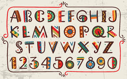 Tribal ethnic bright vector alphabet and number. Hand drawn graphic font in african or indian style Primitive simple stylized design royalty free illustration