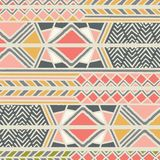 Tribal ethnic colorful bohemian pattern with geometric elements, African mud cloth, tribal design. Vector illustration Stock Images
