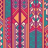 Tribal ethnic colorful bohemian pattern with geometric elements, African mud cloth, tribal design. Vector illustration Stock Photos