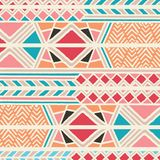 Tribal ethnic colorful bohemian pattern with geometric elements, African mud cloth, tribal design. Vector illustration Royalty Free Stock Photography