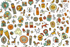 Tribal ethnic elements, seamless pattern for your design. Vector illustration Royalty Free Stock Photo