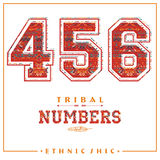 Tribal ethnic numbers for t-shirts, posters, card and other uses. Royalty Free Stock Images