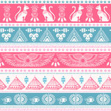 Tribal ethnic seamless pattern with Egypt symbols Royalty Free Stock Images