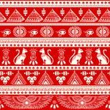 Tribal ethnic seamless pattern with Egypt symbols Royalty Free Stock Photos