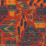 Tribal ethnic seamless pattern with geometric elements. Stock Photo