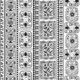 B&W Tribal ethnic seamless pattern Royalty Free Stock Images