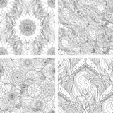 Tribal ethnic seamless patterns set vintage floral. Set of tribal vintage floral ethnic seamless patterns with mandalas. Black and white oriental Asian Indian vector illustration
