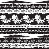 Tribal ethnic seamless stripe monochrome pattern Royalty Free Stock Photo