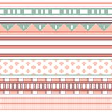 Tribal ethnic seamless stripe pattern. Vector illustration. For your cute feminine romantic design. Aztec sign on white background. Pink, red and blue colors Stock Photography