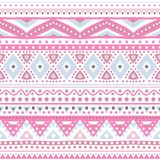 Tribal ethnic seamless stripe pattern. Vector illustration. For your cute feminine romantic design. Aztec sign on white background. Pink and blue colors Stock Photos