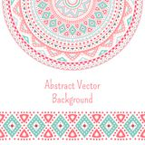 Tribal ethnic seamless stripe and round pattern. Background. Vector illustration for your cute feminine romantic design. Aztec sign on white background. Pink Stock Photos