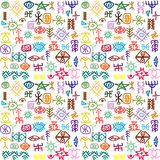 Tribal ethnic symbols colorful background Royalty Free Stock Photo