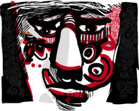 Tribal face artistic drawing illustration Stock Photo