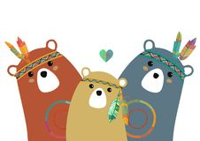 Tribal family of colored bears Royalty Free Stock Photography