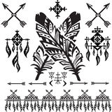 Tribal Feathers and decorative elements Stock Images