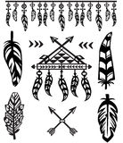 Tribal Feathers and decorative elements Royalty Free Stock Images