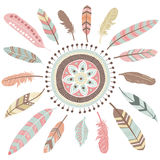 Tribal Feathers Mandala Elements Stock Image
