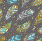 Tribal feathers pattern in grey, gold and blue colors. Vector creative illustration. Decorative feathers pattern. Tribal feathers in grey, gold and blue colors stock photography