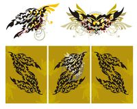 Tribal fire dragon splashes and a dragon triptych. Grunge imaginary fire dragon head with floral elements splashes and blood drops Stock Photography