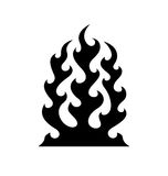 Tribal fire flame. Black fire flame symbol isolated on white Royalty Free Stock Photo