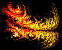 Tribal fire tiger tattoo. On black background abstract illustration Stock Photography