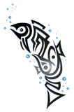 Tribal fish with bubbles Royalty Free Stock Images