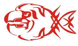 Tribal fish flame symbol. Vector tribal fish flame symbol. Red on the white Stock Photography