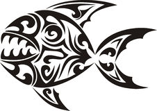 Tribal fish tattoo. Black tribal fish tattoo - piranha Stock Image
