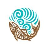 Tribal Fish wave illustration vintage. Tribal fish wave circle, labels and design elements. Vector illustration Stock Photography