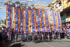 Tribal flags parade Kaamulan Philippines Stock Images