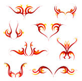 Tribal flame tattoo set. Set of fire flame tattoo emblems Royalty Free Stock Image