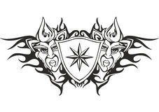 Tribal flame tattoo template with a star. Symmetric tribal flame tattoo template with a star and deity faces Royalty Free Stock Image