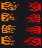 Tribal flames. Set of orange and red tribal flames for tattoo and tracery design Royalty Free Stock Photo
