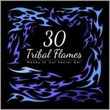 30 Tribal Flames - Hot Rod Flames. Hot Rod Flames - tribal flames on dark background Royalty Free Stock Photos