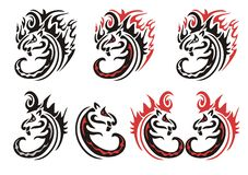 Tribal flaming cats symbols Stock Image
