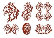 Tribal flaming dog symbols Royalty Free Stock Images
