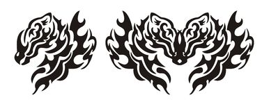 Tribal flaming dragon head Stock Image