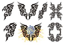 Tribal flaming eagle elements Royalty Free Stock Photos