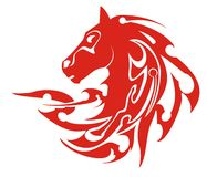 Tribal flaming horse head symbol, vector Royalty Free Stock Photos