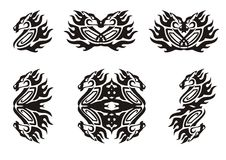 Tribal flaming horse symbols. Black on the white Stock Images