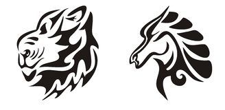 Tribal flaming lion and horse heads Stock Photo