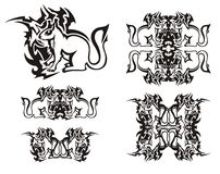 Tribal flaming squirrel symbols. Black on the white Royalty Free Stock Images