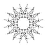 Tribal floral wreath. Ethno style round frame. Tribal floral wreath Royalty Free Stock Photos