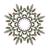 Tribal floral wreath. Ethno style round frame. Tribal floral wreath Stock Photo