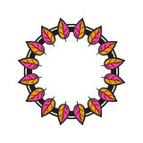 Tribal floral wreath. Ethno style round frame. Tribal floral wreath Stock Images