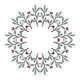 Tribal floral wreath. Ethno style round frame. Tribal floral wreath Stock Image