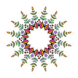 Tribal floral wreath. Ethno style round frame. Tribal floral wreath Royalty Free Stock Image